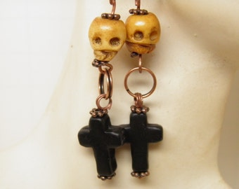 Day of the Dead Earrings Black Cross and Hand Carved Bone Skull Jewelry Rockabilly Jewelry Goth Day of the Dead Jewelry Halloween Earrings