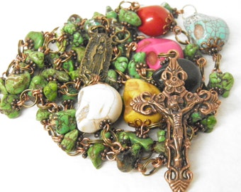 """Day of the Dead Rosary Necklace, 30"""" Turquoise Rosary, Skull Jewelry, Virgin of Guadalupe Day of the Dead Jewelry, Halloween Jewelry OOAK #2"""