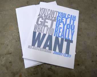 Want for Nothing Set of 6 Letterpress Printed Greeting Cards