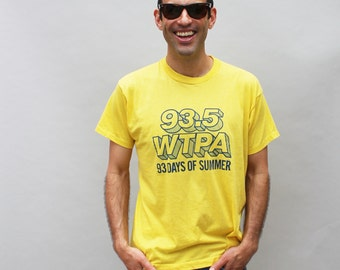 80s vintage WTPA Pennsylvania rock radio station t-shirt, Screen Stars, yellow - Men's Large