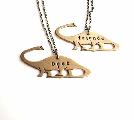 best friends dinosaur necklace set - apatosaurus brontosaurus personalized custom jewelry bff necklace - As seen on Teen Vogue , The Frisky