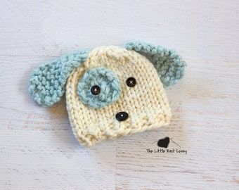 Little Knit Puppy Dog Hat for Baby, Adorable Photography Prop, Choose Pink, Blue or Brown