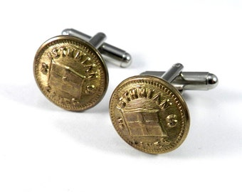 Steampunk Cufflinks, Vintage Shipping Line Uniform Button Cuff LInks -  Soldered Cufflinks - By Compass Rose Design Jewelry