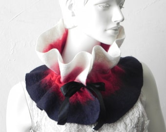 Felted scarf collar Woman Dark Blue Red White color Satin Ribbon Redy to send
