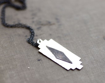 Sterling Silver Geometric Pendant on Long Chain - Black and White Collection - Oxidized