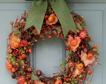 Fall Wreath - Berry Wreath - Autumn Wreath