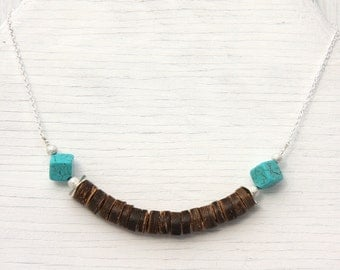 Tribal Necklace, Beach Boho Rustic African Coconut Beads. Turquoise Cubes, Sterling Silver Chain. Bohemian Gypsy Ethnic Native