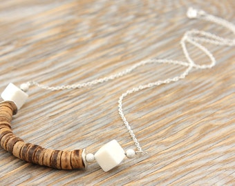 Summer Party Gift Tribal Necklace African Coconut Stacked Necklace White Coral like Sugar Cubes Thin Sterling Silver Chain Bohemian Ethnic