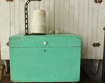 Antique Aqua Painted Pine Storage Box on Wheels    Sale was 168.00