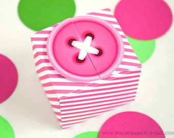 Sew Cute Button Favor Box : Pink Button with Stripes // DIY Printable Cute as a Button Gift Box PDF - Instant Download