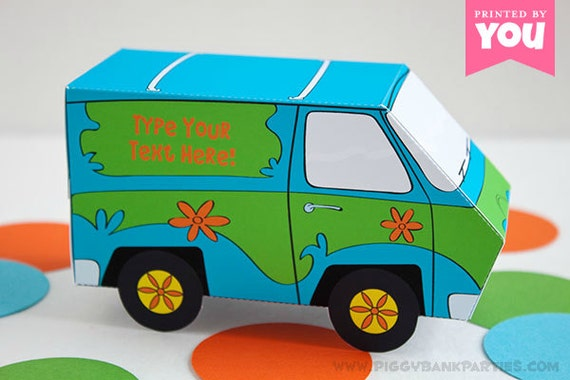 Mystery Van Favor Box : DIY Printable 70s Cartoon Detective PDF // TV Show Sleuth Machine Gift Box - Instant Download