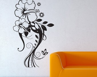 Vinyl Wall Decal Sticker Hibiscus Design 1265m