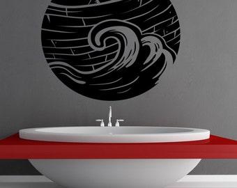 Vinyl Wall Art Decal Sticker Pirate Boat Circle OSMB1244m
