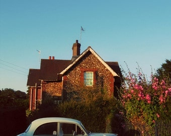 British Car and Country Cottage - Brighton England Home Decor - Blue and Green Wall Art - Travel Photography - Fine Art Photograph