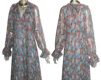 Jane Schaffhausen For Bell France Vintage Multicolor Floral Print See Thru Sheer Ruffle Hippie Boho Dress