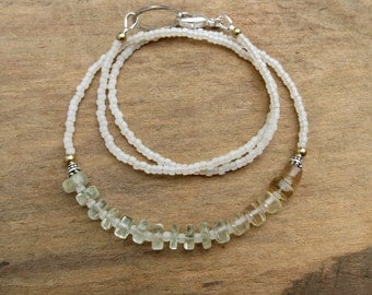 Yellow Green Fluorite Necklace, dainty ombre light green, yellow & white fluorite necklace, subtle Bohemian bead jewelry