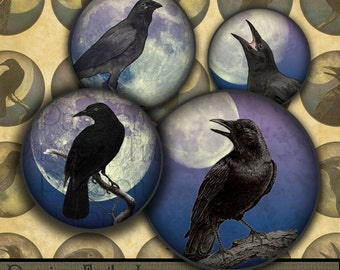 "Moonlit Crows digital collage sheet- 1"" Circles-- Instant Download"