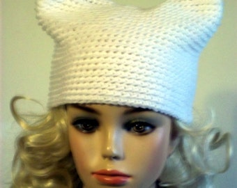 crochet Hat Womens Hat - Cat Beanie Hat in White- Custom Colors Available