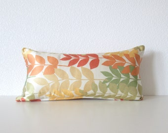 Mini Lumbar pillow cover - 8x16 - Leaves - Orange - Green - Cream - Yellow - Autumn Leaves