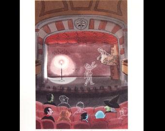 Ghost Light Haunted Theater Print of Original Illustration