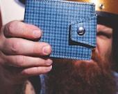Vintage GTO Billfold Wallet - Made from 1960s Pontiac Blue Houndstooth Vinyl - Classic Look - Vegan