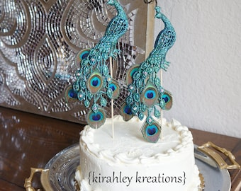 PEACOCK Wedding Cake Toppers - Gorgeous Glittery Iridescent Green Pair Mini Peacock Birds Feathers Curled Herl Swarovski Crystal Jewels