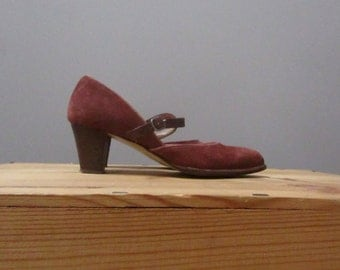 6 mauve suede mary jane wide ankle round toe vintage 70s heel pumps shoes