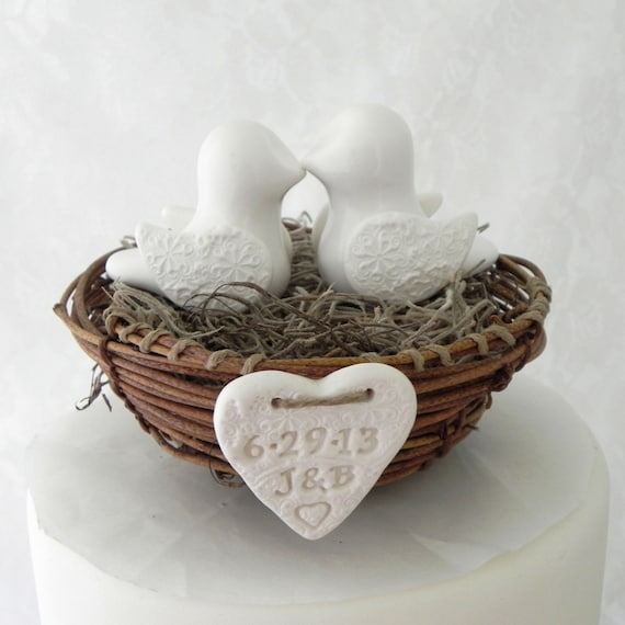 Rustic Chic Wedding Cakes: Rustic Chic Wedding Cake Topper Ivory Love Birds In By