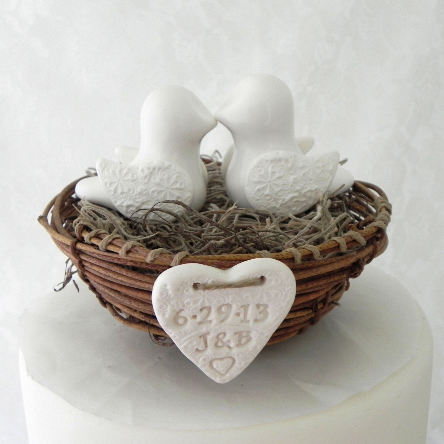 Rustic Chic Wedding Cake Topper Ivory Love Birds In By