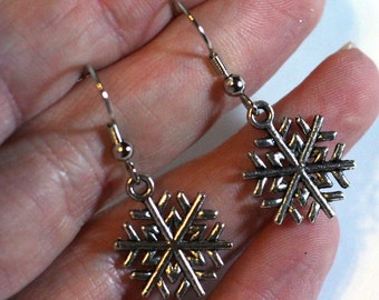 Snowflake Earrings - Winter Christmas Jewelry - Silver Charm Snowflakes