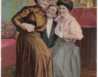 "Romantic Valentine Postcard Handsome Man with Pretty Ladies on his Lap ""The Business Centre of"" Antique Postcard Women Edwardian Fashion"