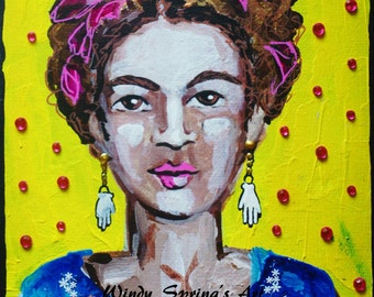 Frida Kahlo Miniature Hands by Spring 5x7 ORIGINAL PAINTING Acrylic on Canvas Mixed Media