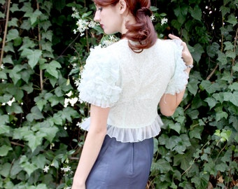 Mint Green Frilly Vintage Lace Blouse - Super Poof Sleeves, Pearl Button Front, Tiny Daisy Pattern - Size Small