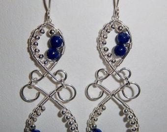 Sterling Silver Wire Wrapped Lapis Gemstone Chandelier Earrings