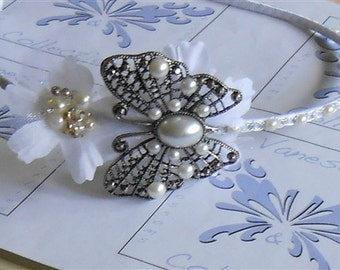 Wedding Tiara Headband White Flowers, Pearls with Antiqued Butterfly