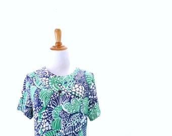 Vintage Plus Size Mod Dress / Psychedelic Dress / Blue and Green Dress / Op Art Dress L XL 1X