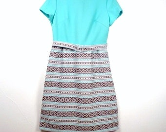 Vintage Southwestern Dress / Turquoise Dress / Geometric Dress / 60s Mod Dress L
