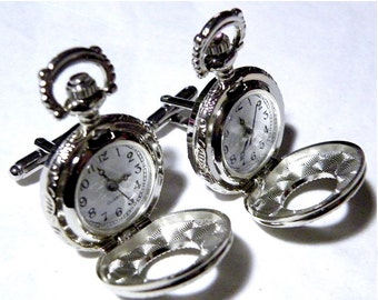 Pocket Watch Steampunk Mens Cufflinks Antique Victorian Style Silver Wedding Cuff links Groom