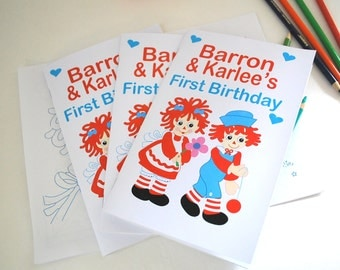6 Andy and Raggedy Ann Coloring Books,  Inspired Personalized Coloring Books Party Favors  A846