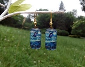 Doctor Who Van Gogh Starry Night TARDIS earrings Silver or Gold