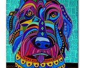 65% Off- Labradoodle art Tile Ceramic Coaster Mexican Folk Art Print of painting by Heather Galler Dog