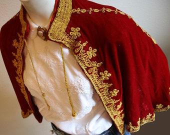 Antique hand sewn soutache braided gold cord red velvet royal queen style opera cape circa 1880-1900 - women's sz XS-L