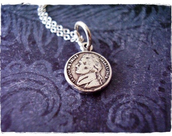 Tiny Silver Jefferson Nickel Necklace - Sterling Silver Jefferson Nickel Charm on a Delicate Sterling Silver Cable Chain or Charm Only