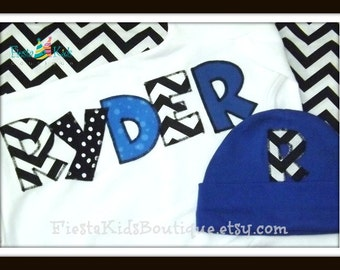 Take home baby outfit boy, personalized baby clothes, newborn boy outfit, baby hats, hospital baby outfit