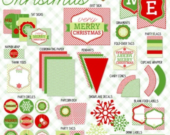Gingham Christmas PRINTABLE Party (INSTANT DOWNLOAD) by Love The Day
