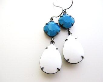 Caribbean Blue Opal Earrings - Swarovski rhinestones set in gunmetal