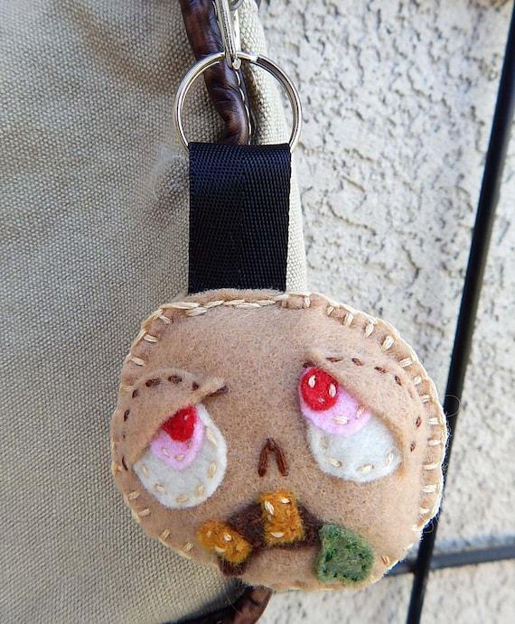 Zombie Head Feltie Keychain OOAK