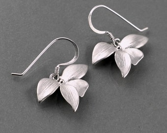 Orchid Earrings, sterling silver earwire dainty flower charm drop dangle, holidays gift, everyday, bridesmaid wedding jewelry, by balance9