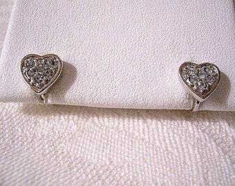 Crystal Encrushted Heart Clip On Earrings Silver Tone Vintage Avon Textured Rimmed Edges
