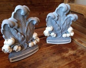 vintage syroco bookends . hand painted . chalk paint . custom color contrast combination . french scroll . floral modern elegant decor .